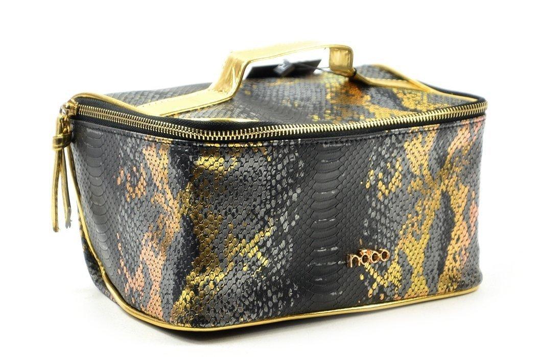 17989e0541c0a Kosmetyczka damska kuferek NOBO E03 czarna złota wąż