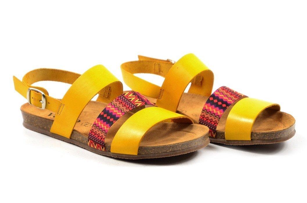 1aa34d3c Sandały 39 skóra VERANO 2848 żółte kolorowe paski
