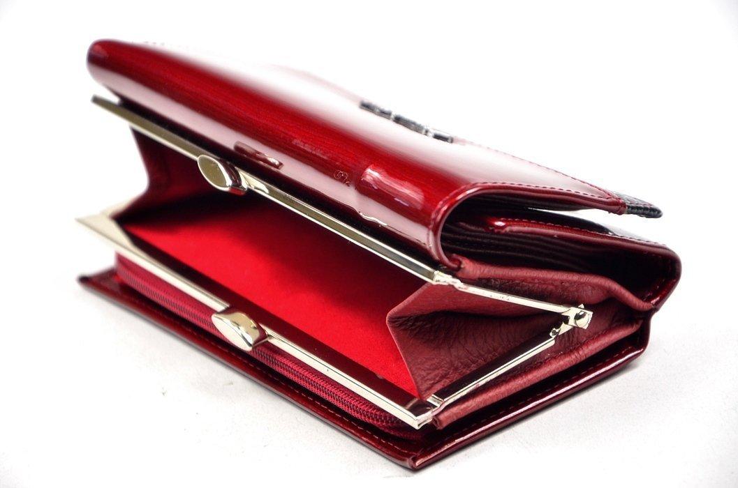 24cc54ef8c9ba Portfel damski ALESSANDRO PAOLI skóra czerwony lakier funkcjonalny