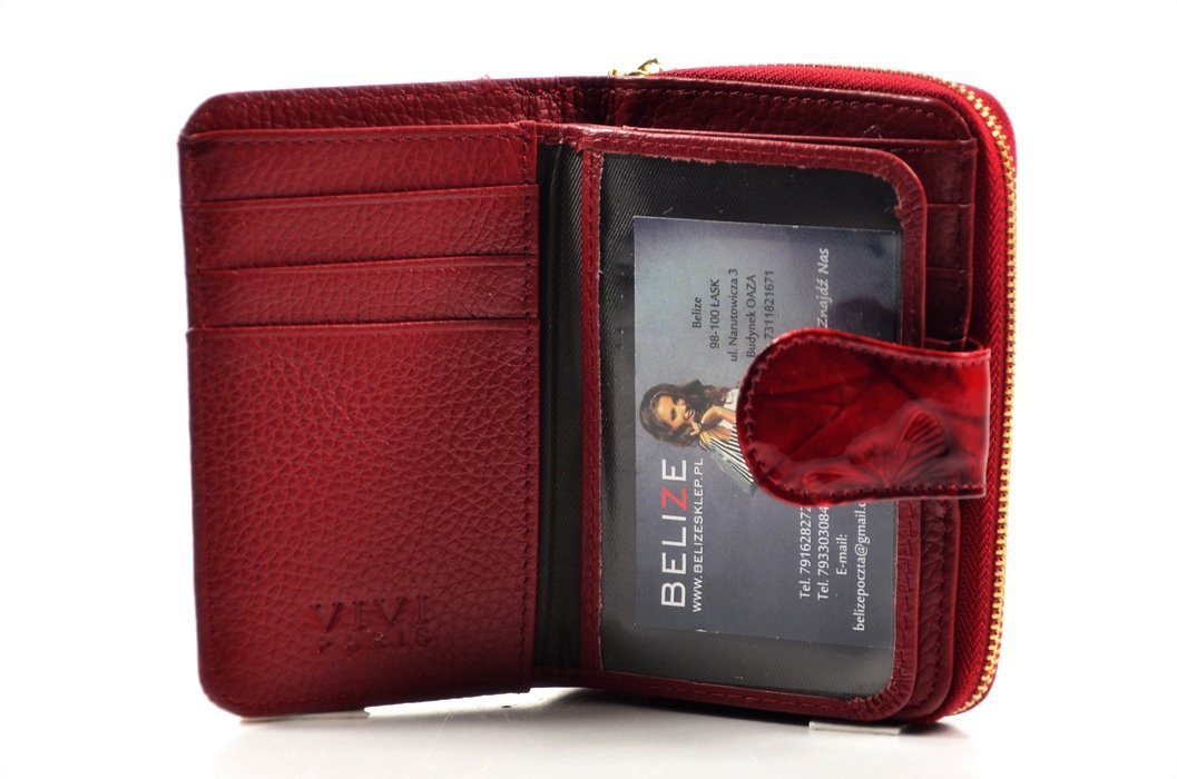 1738812d59510 Portfel damski VIVi skóra czerwony motyle lakier funkcjonalny
