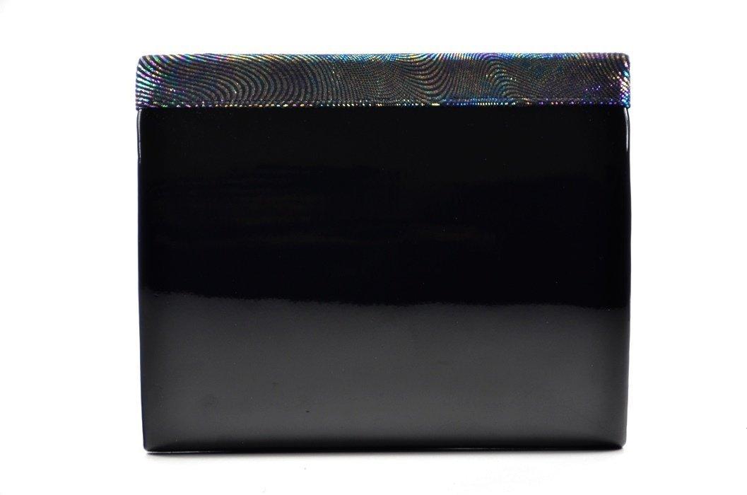 b12d1959804b4 TOREBKA kopertówka wizytowa lakier czarna metaliczna klapka ...