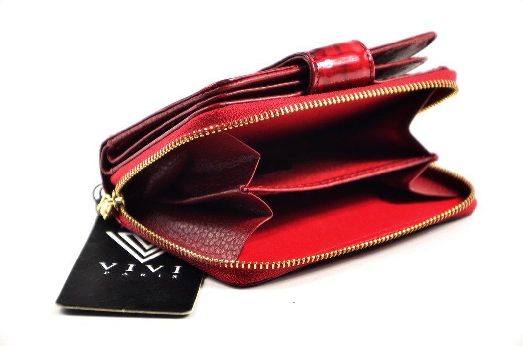 2a0ffc63b7718 Portfel damski VIVi skóra czerwony motyle lakier funkcjonalny