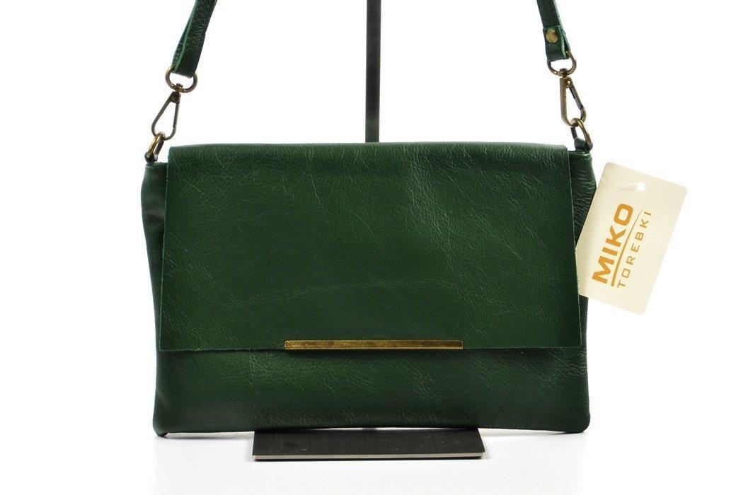 1137df8e07b5d TOREBKA skóra włoska listonoszka zielona kopertówka
