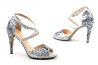 Sandałki 35 szpilki EDEO 3213 skóra srebrne szare wąż