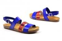 Sandały 36 skóra VERANO 2848 niebieskie chaber kolorowe paski
