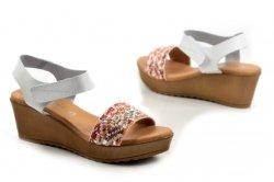 Sandały 37 koturn EVA FRUTOS 9449 białe hiszpańskie