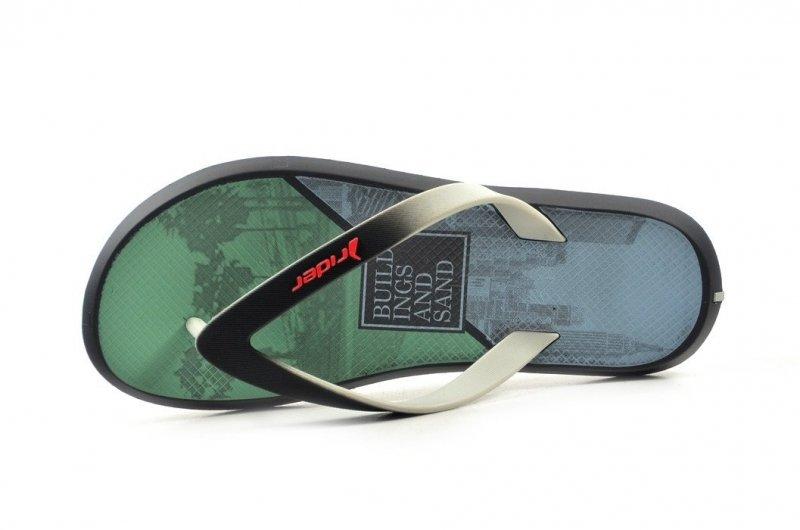Klapki męskie 41 RIDER 82731 szare czarne zielone