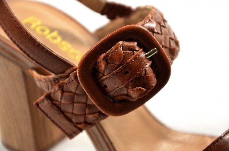 Sandałki 37 słupek ROBSON skóra 9313 brązowe