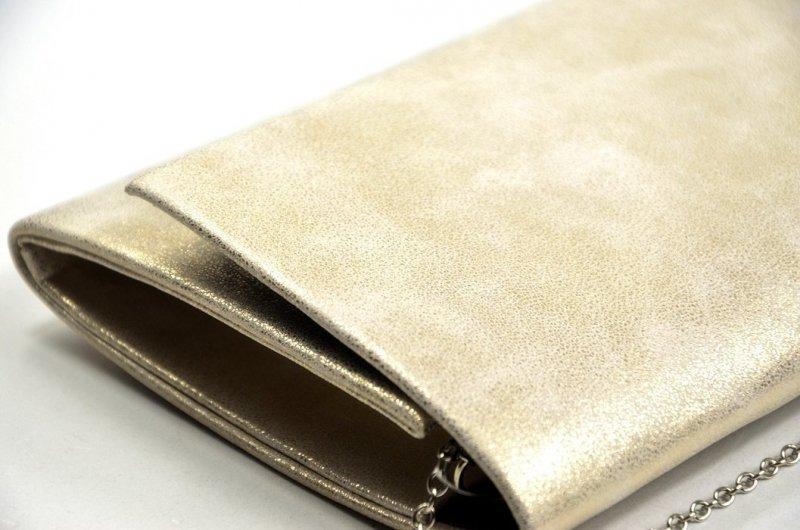 TOREBKA kopertówka wizytowa złota przecierana marmurek prostokątna