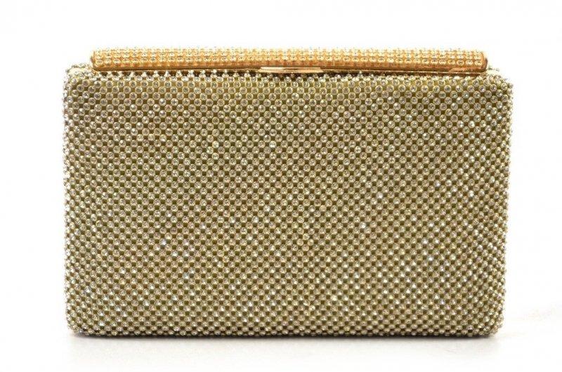 TOREBKA wizytowa kopertówka złota kryształki MICHELLE MOON