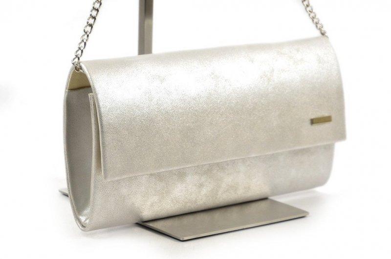 TOREBKA kopertówka wizytowa srebrna marmurek matowa