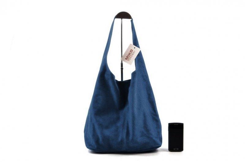TOREBKA damska skórzana ciemna niebieska granatowa WOREK