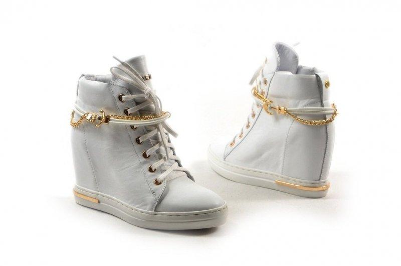 Botki 39 sneakersy Carinii B5476 białe skórzane