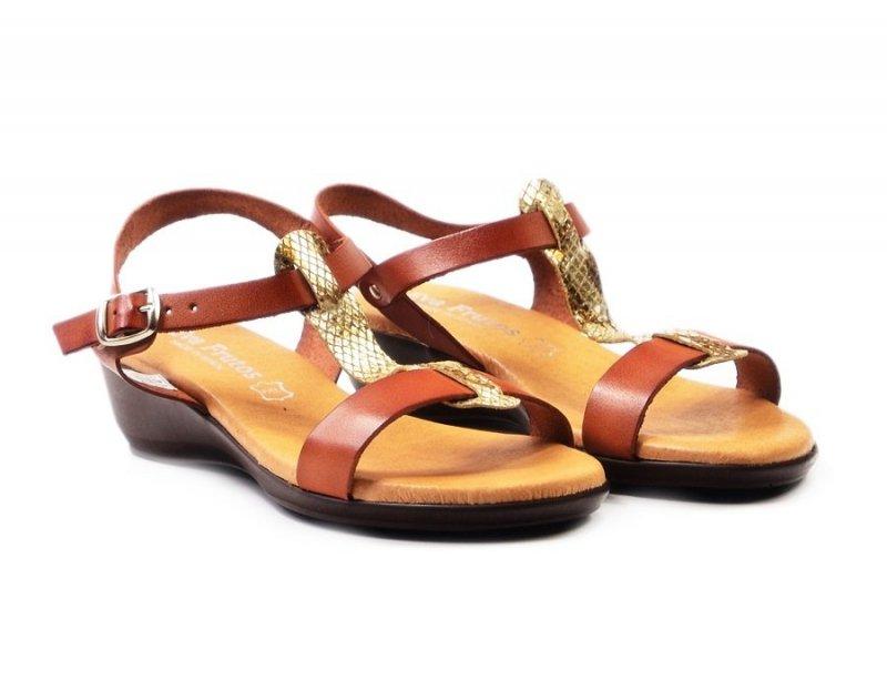 Sandałki 37 EVA FRUTOS 5349 brąz złoto beż wąż