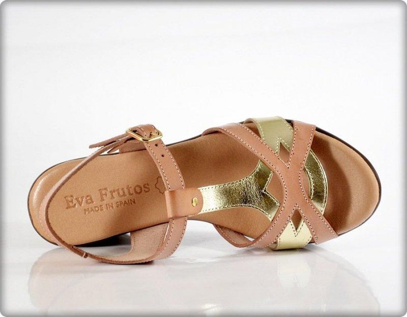 Sandały 40 EVA FRUTOS 5707 koturn beż złoto brąz