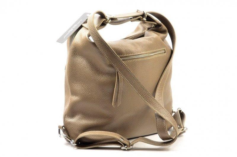 TOREBKA Laura Biaggi worek plecak skórzana brązowa taupe
