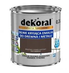 Dekoral Olejna 0,2L BRĄZOWY CIEMNY MAT emakol alkidowa emalia strong