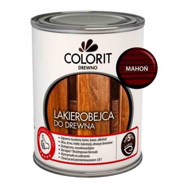 Colorit Lakierobejca Drewna 0,75L MAHOŃ szybkoschnąca satynowa farba do