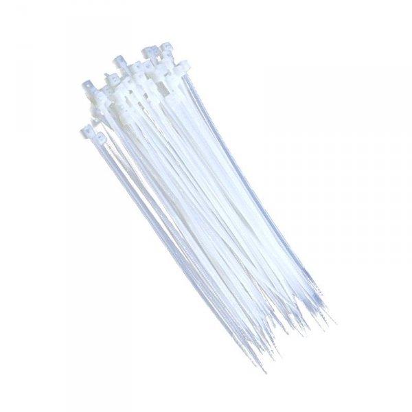 Opaski zaciskowe trytki 2,5x150mm BIAŁE zip-y 100 szt. nylonowe