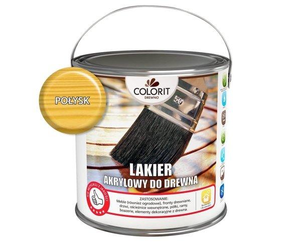 Colorit Lakier Akrylowy Drewna 10L POŁYSK BEZBARWNY z filtrami UV do wewnątrz i na zewnątrz nieżółknący