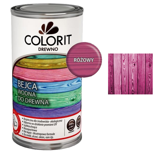 Colorit Bejca Wodna Do Drewna 0,5L RÓŻOWY 500ml do