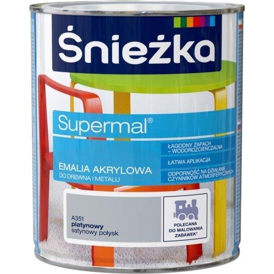 Śnieżka Emalia Akrylowa 0,8L PLATYNOWY A351 POŁYSK SATYNOWY Farba Supermal
