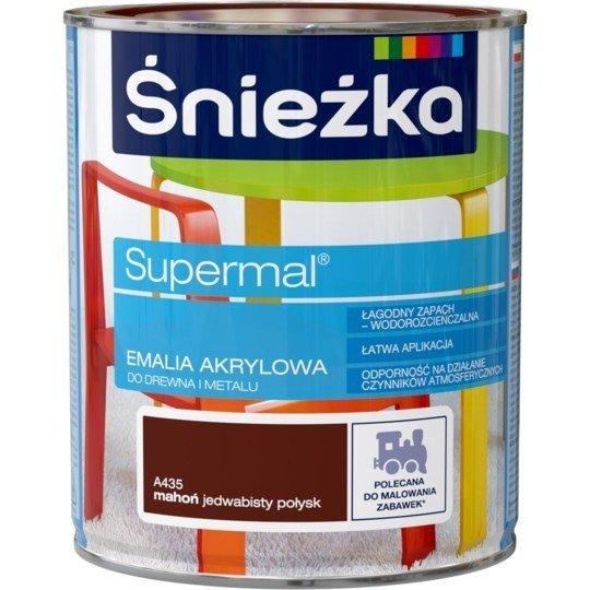 Śnieżka Emalia Akrylowa 0,8L MAHOŃ A435 POŁYSK JEDWABISTY Farba Supermal