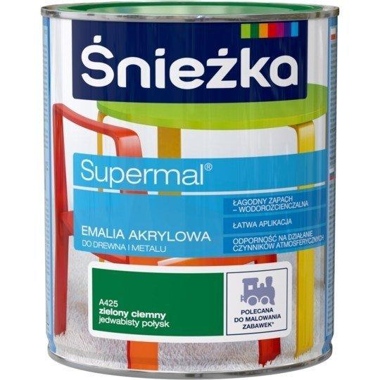 Śnieżka Emalia Akrylowa 0,8L ZIELONY CIEMNY A425 POŁYSK JEDWABISTY Farba Supermal