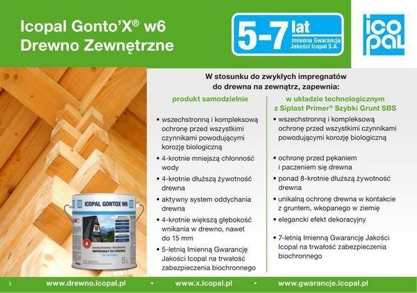 Gontox W 10L impregnat do drewna BEZBARWNY gontów oleisty Icopal