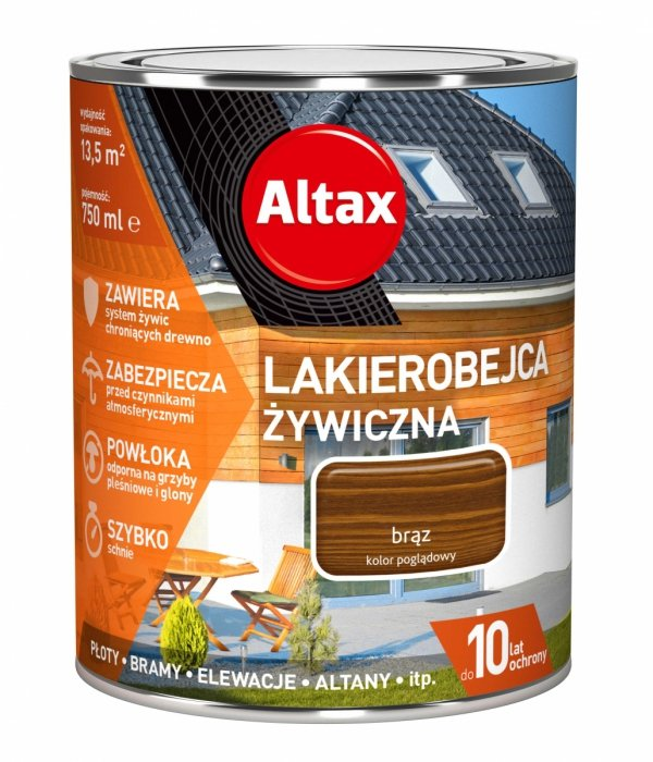 Altax Lakierobejca 0,75L BRĄZ Żywiczna Drewna Szybkoschnąca