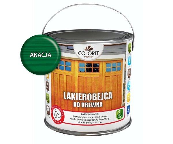 Colorit Lakierobejca Drewna 2,5L AKACJA ZIELONY szybkoschnąca satynowa farba do