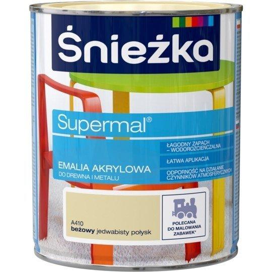 Śnieżka Emalia Akrylowa 0,8L BEŻOWY A410 POŁYSK JEDWABISTY Farba Supermal