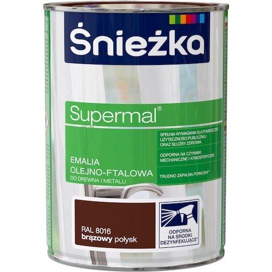 Śnieżka Emalia Olejna BRĄZOWY RAL8016 0,8L farba ftalowa Supermal