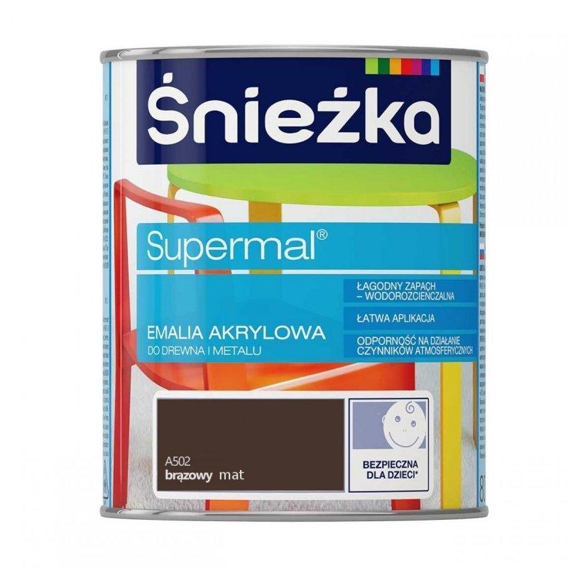 Śnieżka Supermal Emalia Akrylowa 0,8L BRĄZOWY A502 MAT Farba