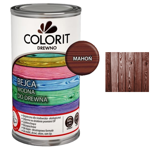 Colorit Bejca Wodna Do Drewna 0,5L MAHOŃ 500ml do