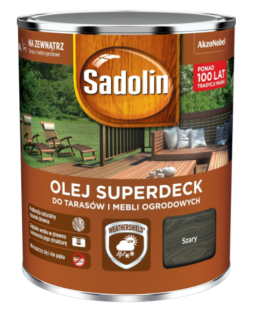 Sadolin Superdeck olej 0,75L SZARY tarasów drewna do