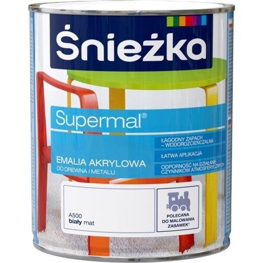Śnieżka Emalia Akrylowa 0,8L BIAŁY A500 MAT Biała Farba Supermal