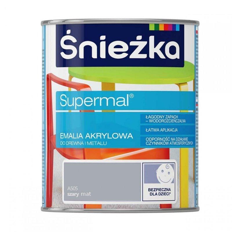Śnieżka Supermal Emalia Akrylowa 0,8L SZARY A505 MAT Farba