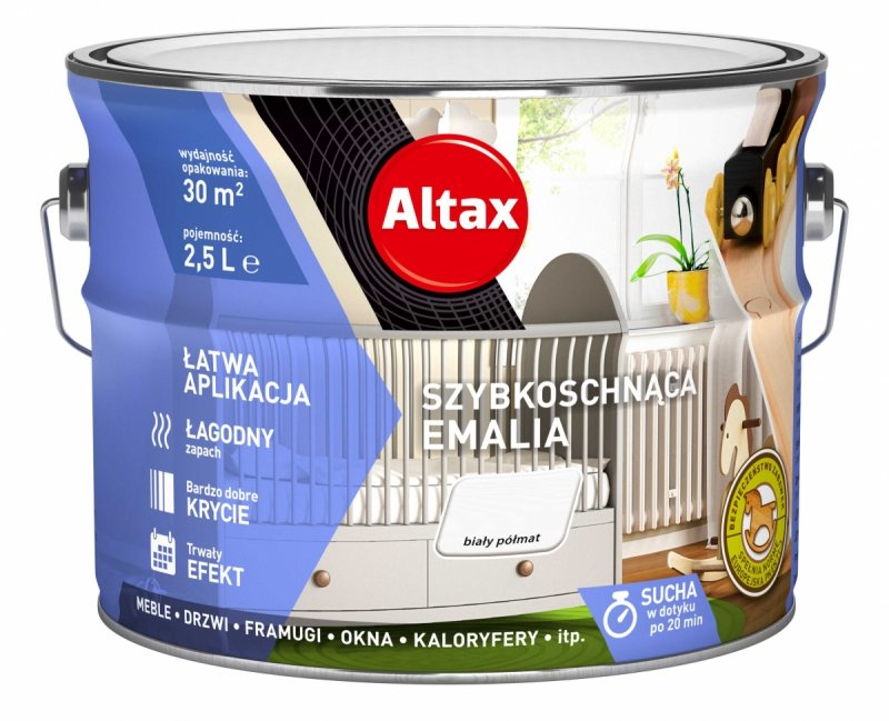 Altax Emalia Szybkoschnąca Biały PÓŁMAT 2,5L akrylowa wodna do drewna metalu