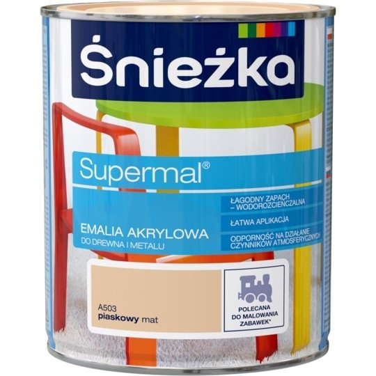 Śnieżka Emalia Akrylowa 0,8L PIASKOWY A503 MAT Farba Supermal