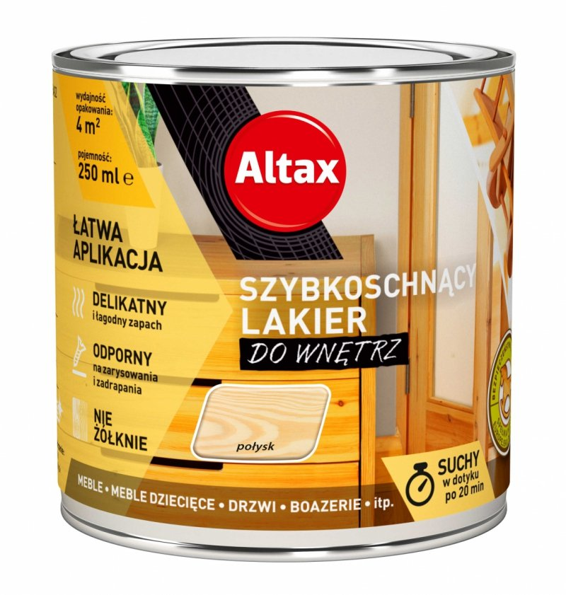 Altax lakier szybkoschnący drewna POŁYSK 0,25L bezbarwny do wnętrz