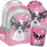 Plecak dla Dziewczynki Szkolny Zestaw w Pieski [PTD-181]