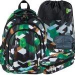 Zielony Plecak St.Right Młodzieżowy Szkolny Chłopięcy GREEN 3D BLOCKS [BP4]
