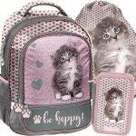 Plecak Dziewczęcy do Szkoły Kot Kotek Brązowy [RLD-260]