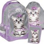 Plecak dla Dziewczynki Szkolny Zestaw z Kotem Kot [PTC-181]