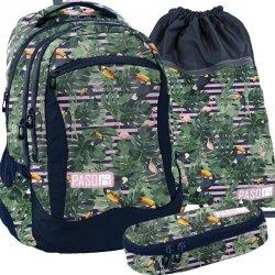 Plecak Młodzieżowy Szkolny Tukany Flamingi Zestaw [PPMS19-2808]