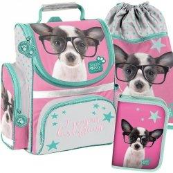 Szkolny Tornister z Pieskiem w Okularach dla Dziewczyny [PTD-525]