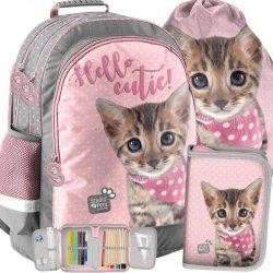 Plecak Szkolny z Kotkiem Kotem Kot Szary Różowy [PJC-116]