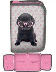 Szkolny Piórnik Labrador Piesek w Okularach dla Dziewczyny [PTB-001BW]