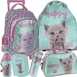 Plecak na Kółkach w Kotkie Koty Szkolny Zestaw dla Dziewczynki [PTF-1221]